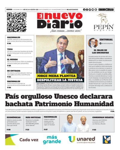 Portada Periódico El Nuevo Diario, Jueves 12 de Diciembre, 2019