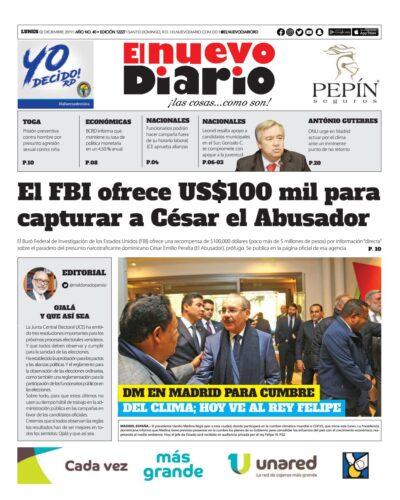 Portada Periódico El Nuevo Diario, Lunes 02 de Diciembre, 2019