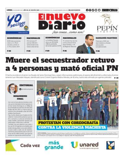 Portada Periódico El Nuevo Diario, Lunes 09 de Diciembre, 2019