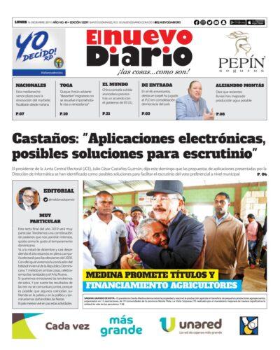 Portada Periódico El Nuevo Diario, Lunes 16 de Diciembre, 2019