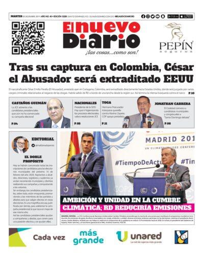 Portada Periódico El Nuevo Diario, Martes 03 de Diciembre, 2019