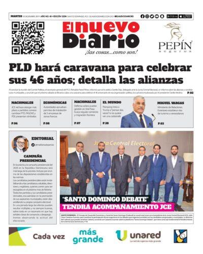 Portada Periódico El Nuevo Diario, Martes 10 de Diciembre, 2019
