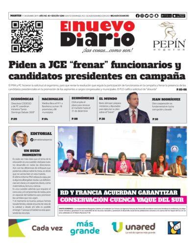 Portada Periódico El Nuevo Diario, Martes 17 de Diciembre, 2019