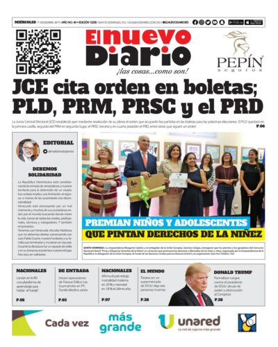 Portada Periódico El Nuevo Diario, Miércoles 11 de Diciembre, 2019