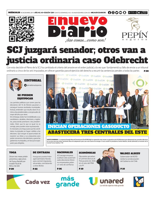 Portada Periódico El Nuevo Diario, Miércoles 18 de Diciembre, 2019
