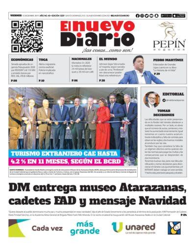 Portada Periódico El Nuevo Diario, Viernes 13 de Diciembre, 2019