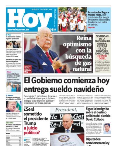 Portada Periódico Hoy, Jueves 05 de Diciembre, 2019