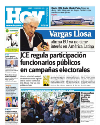 Portada Periódico Hoy, Lunes 02 de Diciembre, 2019
