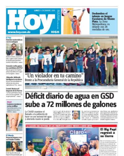 Portada Periódico Hoy, Lunes 09 de Diciembre, 2019
