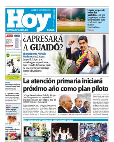 Portada Periódico Hoy, Lunes 16 de Diciembre, 2019