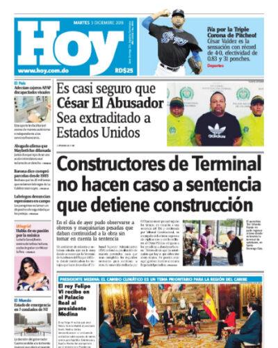 Portada Periódico Hoy, Martes 03 de Diciembre, 2019