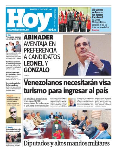 Portada Periódico Hoy, Martes 10 de Diciembre, 2019