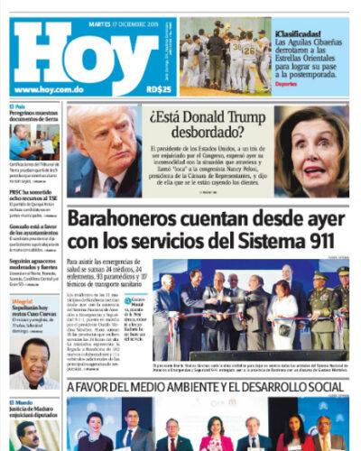 Portada Periódico Hoy, Martes 17 de Diciembre, 2019