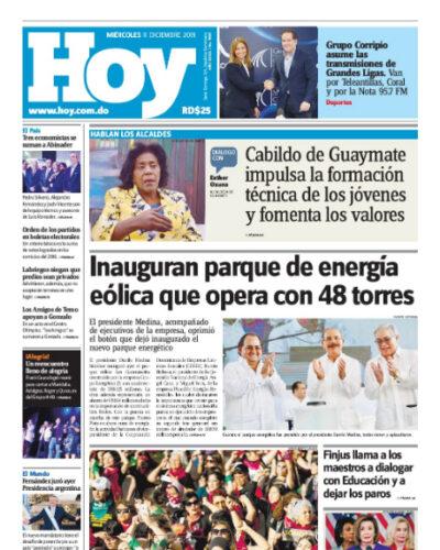 Portada Periódico Hoy, Miércoles 11 de Diciembre, 2019