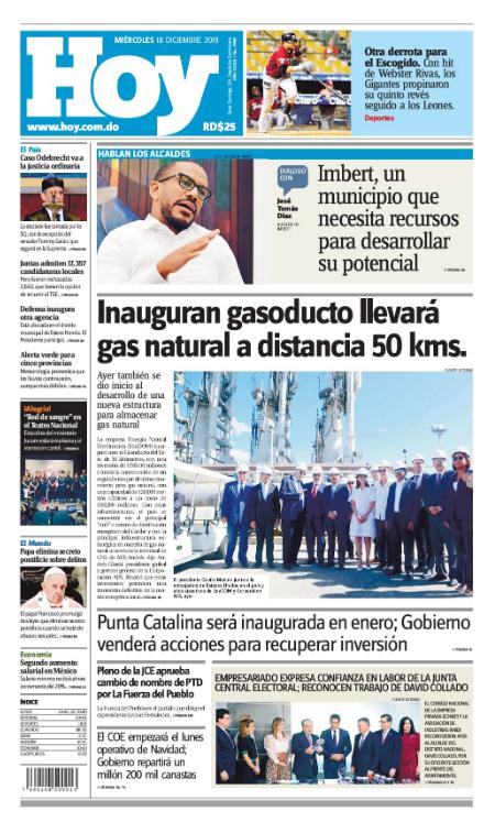 Portada Periódico Hoy, Miércoles 18 de Diciembre, 2019