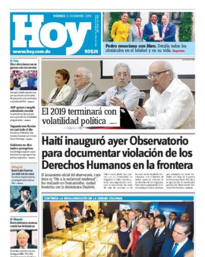 Portada Periódico Hoy, Viernes 13 de Diciembre, 2019