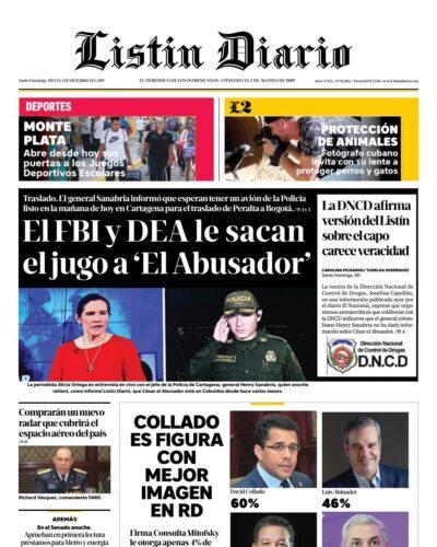 Portada Periódico Listín Diario, Jueves 05 de Diciembre, 2019