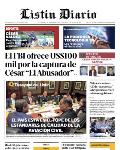 Portada Periódico Listín Diario, Lunes 02 de Diciembre, 2019