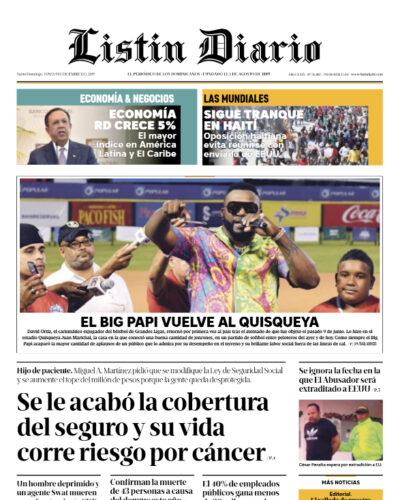 Portada Periódico Listín Diario, Lunes 09 de Diciembre, 2019