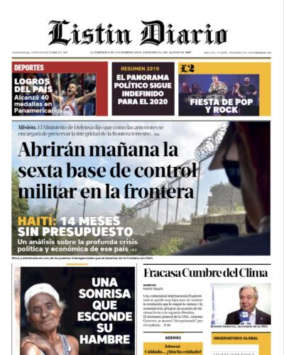 Portada Periódico Listín Diario, Lunes 16 de Diciembre, 2019