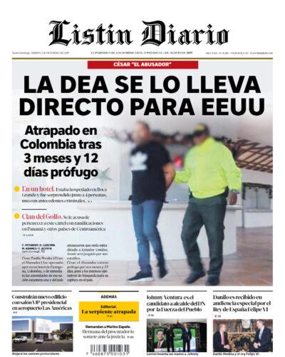 Portada Periódico Listín Diario, Martes 03 de Diciembre, 2019