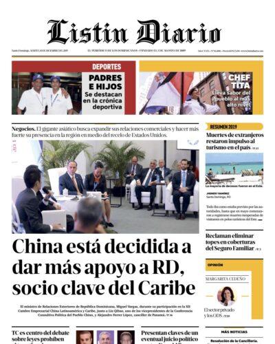 Portada Periódico Listín Diario, Martes 10 de Diciembre, 2019