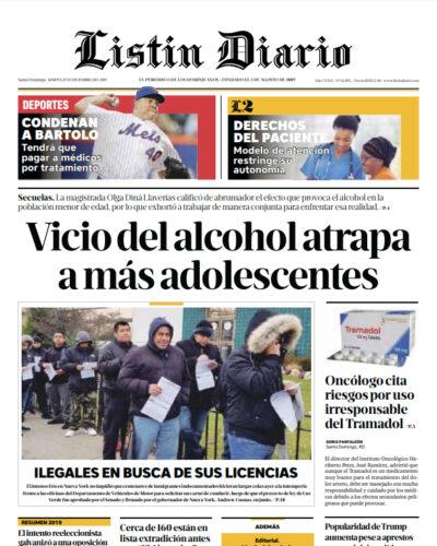 Portada Periódico Listín Diario, Martes 17 de Diciembre, 2019