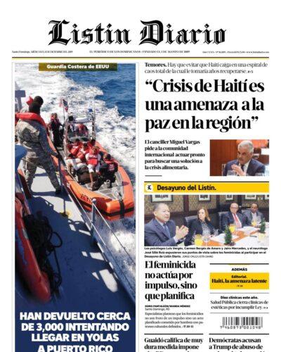 Portada Periódico Listín Diario, Miércoles 11 de Diciembre, 2019