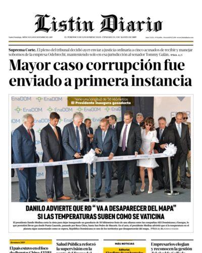 Portada Periódico Listín Diario, Miércoles 18 de Diciembre, 2019