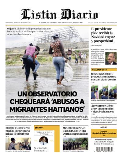 Portada Periódico Listín Diario, Viernes 13 de Diciembre, 2019