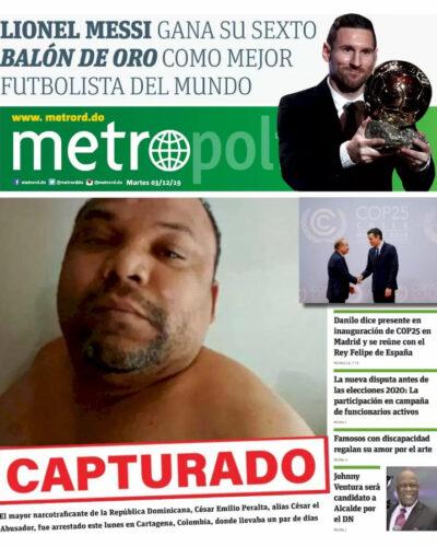 Portada Periódico Metro, Martes 03 de Diciembre, 2019