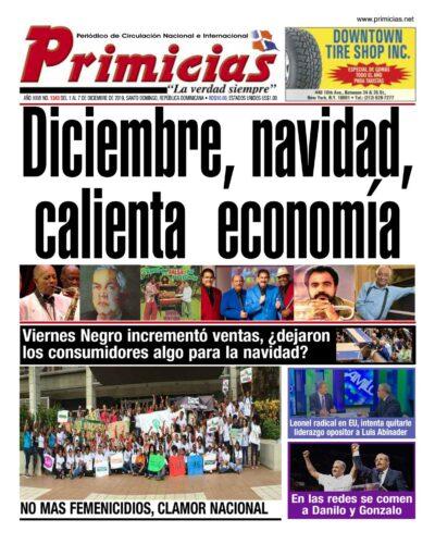 Portada Periódico Primicias, Lunes 02 de Diciembre, 2019