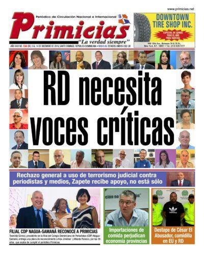 Portada Periódico Primicias, Lunes 09 de Diciembre, 2019