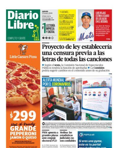 Portada Periódico Diario Libre, Jueves 23 de Enero, 2019