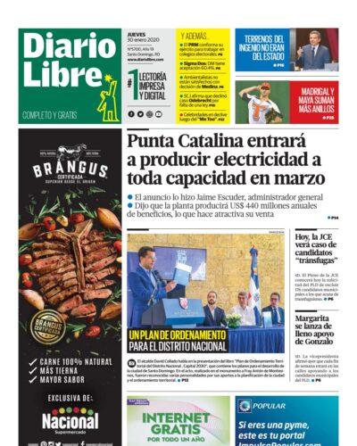 Portada Periódico Diario Libre, Jueves 30 de Enero, 2019