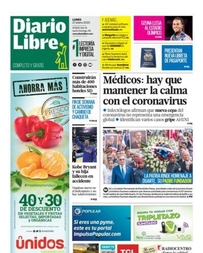 Portada Periódico Diario Libre, Lunes 27 de Enero, 2019