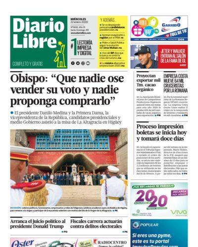 Portada Periódico Diario Libre, Miércoles 22 de Enero, 2019