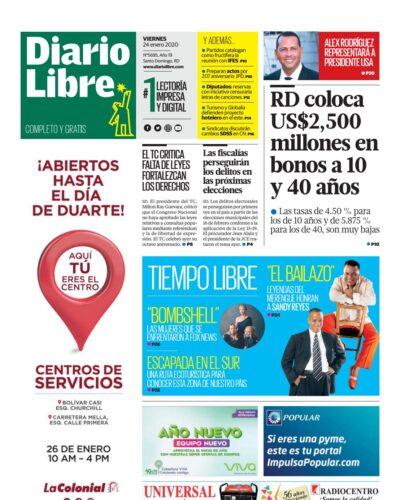 Portada Periódico Diario Libre, Viernes 24 de Enero, 2019