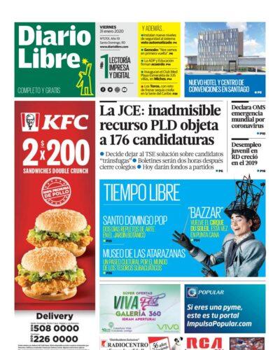Portada Periódico Diario Libre, Viernes 31 de Enero, 2019