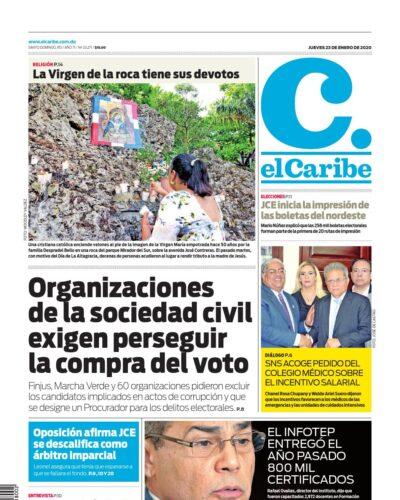 Portada Periódico El Caribe, Jueves 23 de Enero, 2019