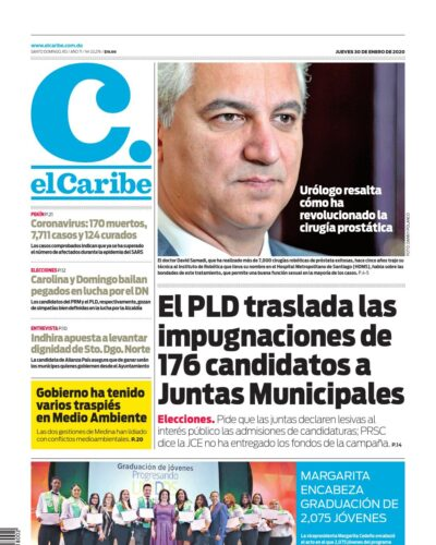 Portada Periódico El Caribe, Jueves 30 de Enero, 2019