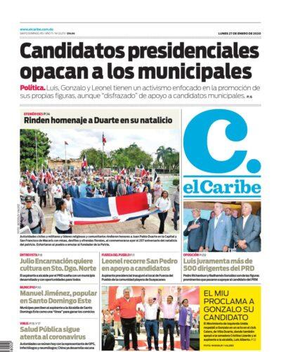 Portada Periódico El Caribe, Lunes 27 de Enero, 2019