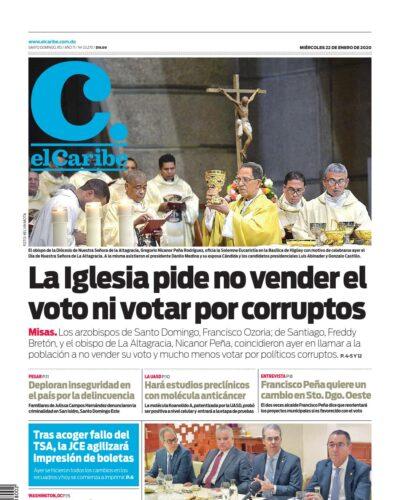 Portada Periódico El Caribe, Miércoles 22 de Enero, 2019