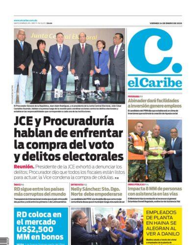 Portada Periódico El Caribe, Viernes 24 de Enero, 2019