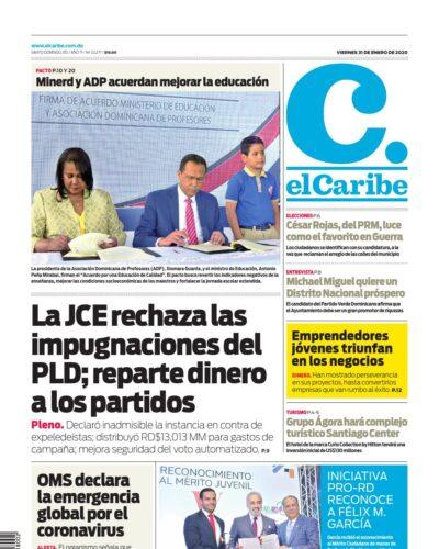 Portada Periódico El Caribe, Viernes 31 de Enero, 2019