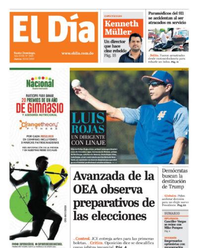 Portada Periódico El Día, Jueves 23 de Enero, 2019
