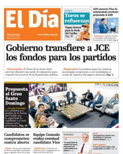 Portada Periódico El Día, Jueves 30 de Enero, 2019