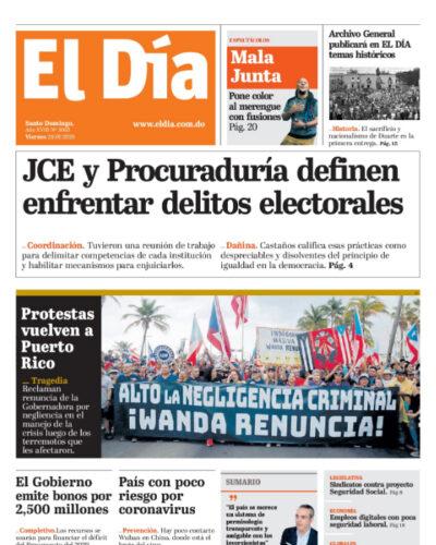 Portada Periódico El Día, Lunes 27 de Enero, 2019