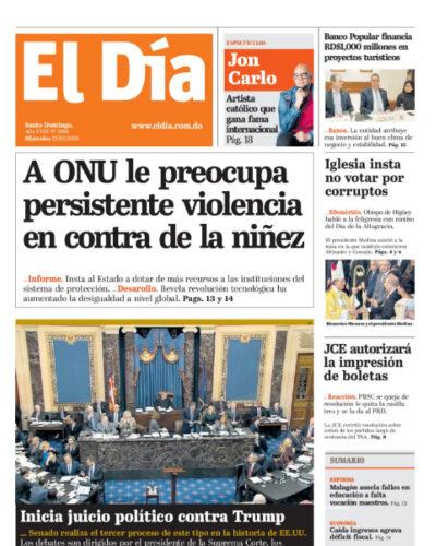 Portada Periódico El Día, Miércoles 22 de Enero, 2019