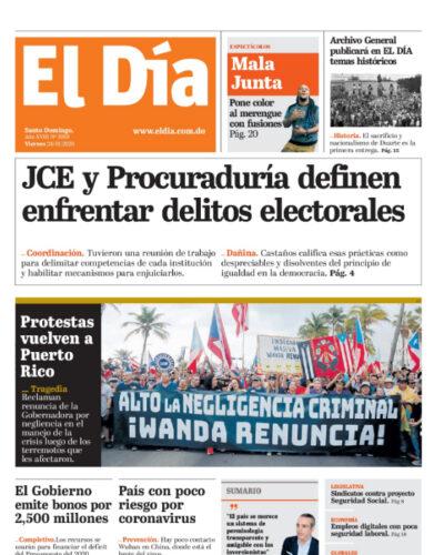 Portada Periódico El Día, Viernes 24 de Enero, 2019